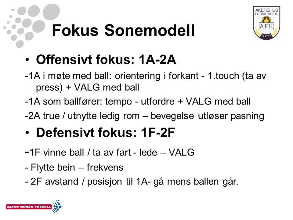Fokus Sonemodell •Offensivt fokus: 1A-2A -1A i møte med ball: orientering i forkant - 1.touch (ta av press) + VALG med ball -1A som ballfører: tempo -