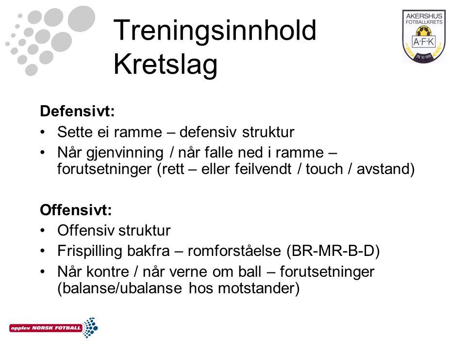 Treningsinnhold Kretslag Defensivt: •Sette ei ramme – defensiv struktur •Når gjenvinning / når falle ned i ramme – forutsetninger (rett – eller feilve