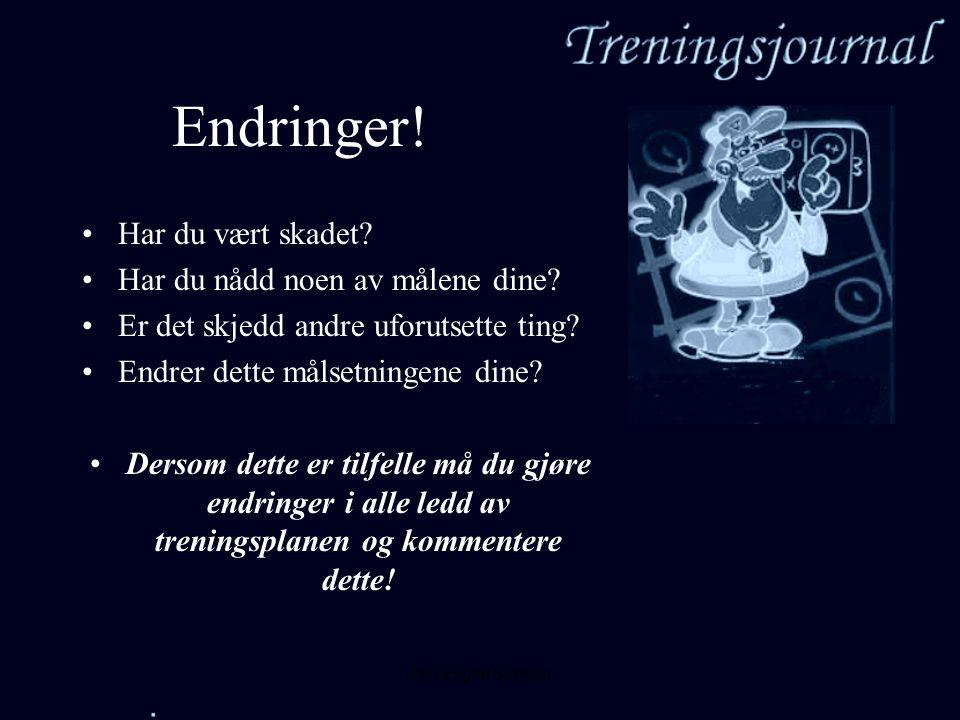 Jarl Espen Sjursen Endringer! •H•Har du vært skadet? •H•Har du nådd noen av målene dine? •E•Er det skjedd andre uforutsette ting? •E•Endrer dette måls