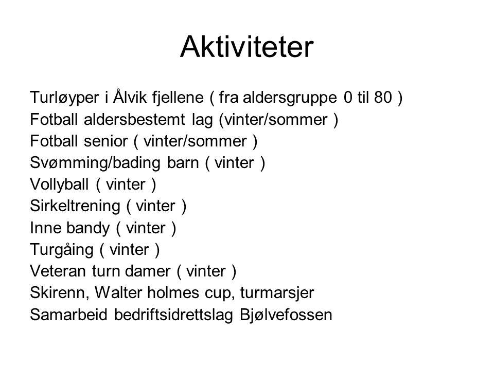 Aktiviteter Turløyper i Ålvik fjellene ( fra aldersgruppe 0 til 80 ) Fotball aldersbestemt lag (vinter/sommer ) Fotball senior ( vinter/sommer ) Svømming/bading barn ( vinter ) Vollyball ( vinter ) Sirkeltrening ( vinter ) Inne bandy ( vinter ) Turgåing ( vinter ) Veteran turn damer ( vinter ) Skirenn, Walter holmes cup, turmarsjer Samarbeid bedriftsidrettslag Bjølvefossen