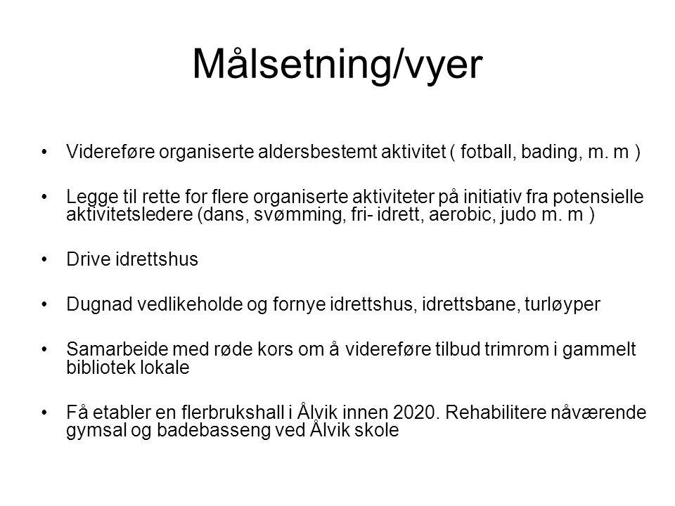 Målsetning/vyer •Videreføre organiserte aldersbestemt aktivitet ( fotball, bading, m.