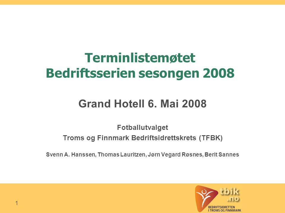 1 Terminlistemøtet Bedriftsserien sesongen 2008 Grand Hotell 6.