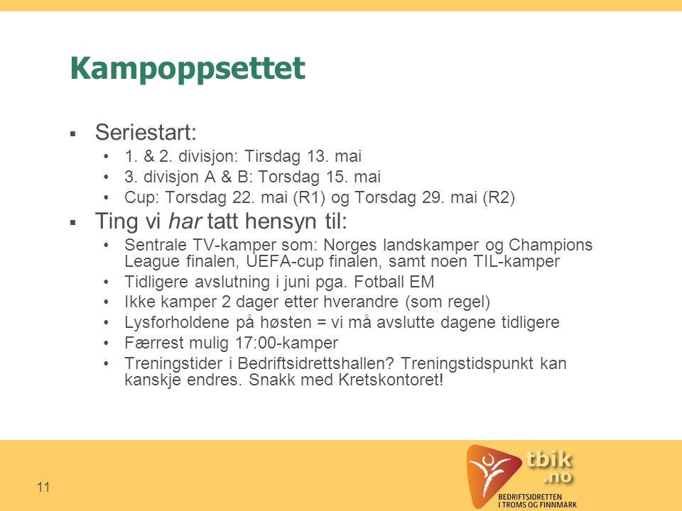 11 Kampoppsettet  Seriestart: •1. & 2. divisjon: Tirsdag 13.