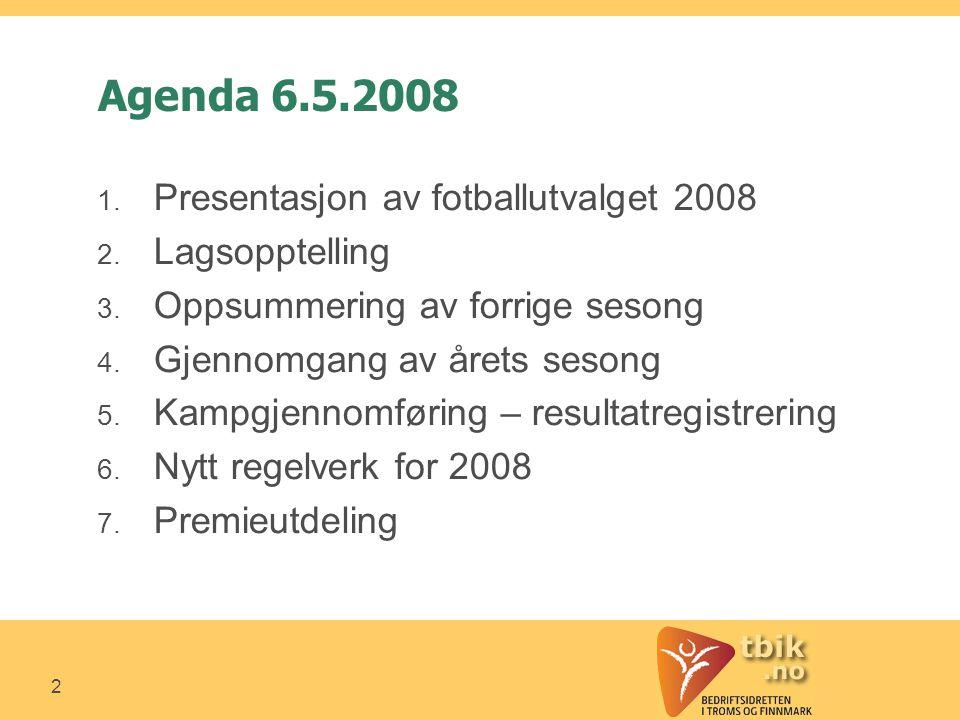 2 Agenda 6.5.2008 1. Presentasjon av fotballutvalget 2008 2.