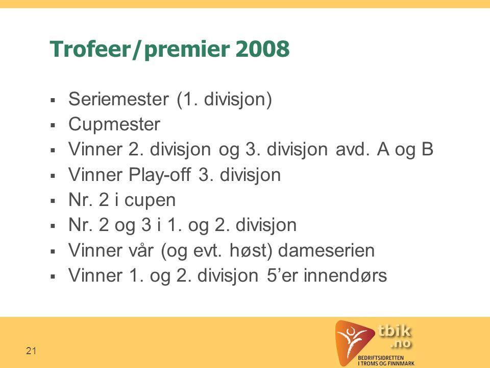 21 Trofeer/premier 2008  Seriemester (1. divisjon)  Cupmester  Vinner 2.