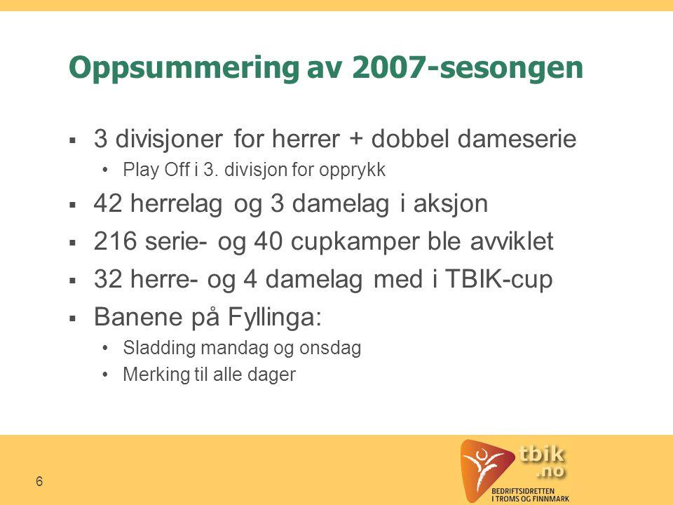 6 Oppsummering av 2007-sesongen  3 divisjoner for herrer + dobbel dameserie •Play Off i 3.