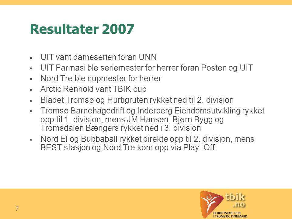 7 Resultater 2007  UIT vant dameserien foran UNN  UIT Farmasi ble seriemester for herrer foran Posten og UIT  Nord Tre ble cupmester for herrer  Arctic Renhold vant TBIK cup  Bladet Tromsø og Hurtigruten rykket ned til 2.