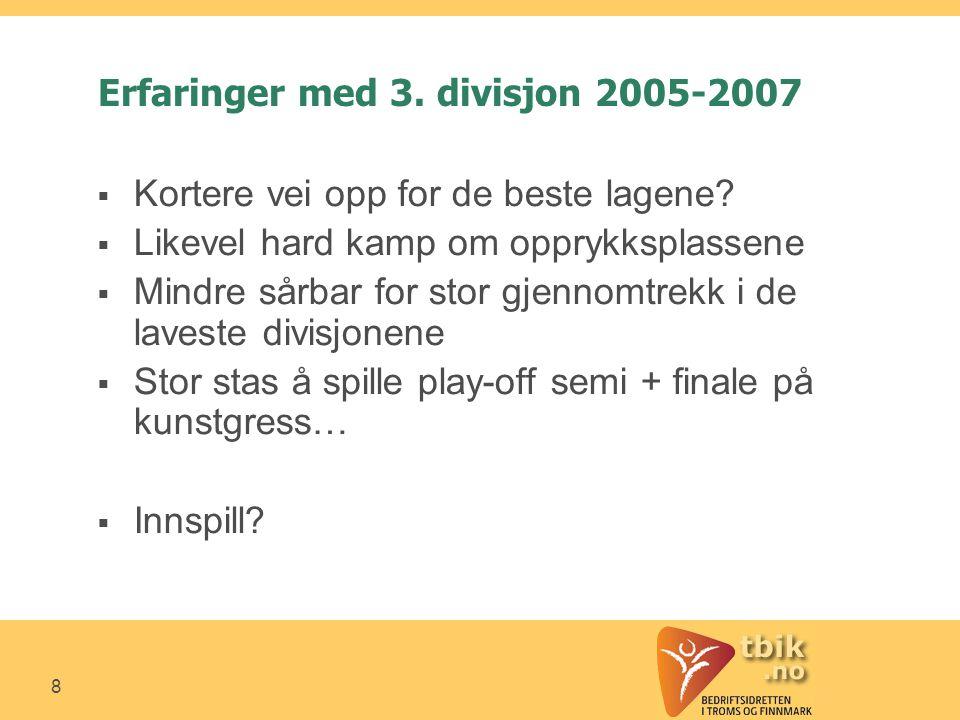 8 Erfaringer med 3. divisjon 2005-2007  Kortere vei opp for de beste lagene.