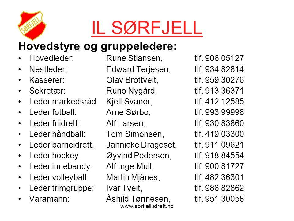 www.sorfjell.idrett.no IL SØRFJELL Hovedstyre og gruppeledere: •Hovedleder:Rune Stiansen, tlf.