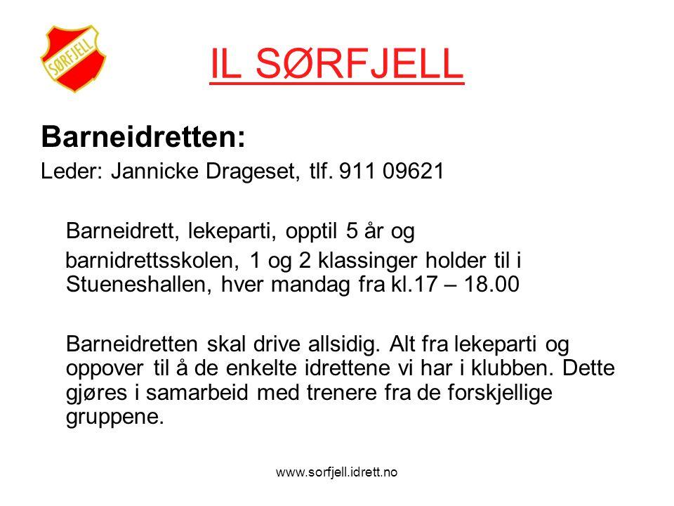www.sorfjell.idrett.no IL SØRFJELL Barneidretten: Leder: Jannicke Drageset, tlf.