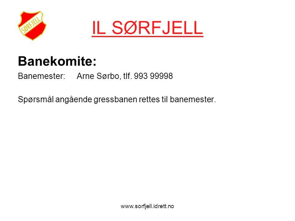 www.sorfjell.idrett.no IL SØRFJELL Banekomite: Banemester: Arne Sørbo, tlf.