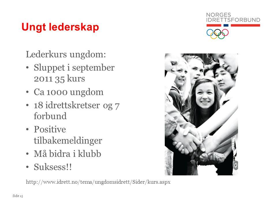 Side 16 Coaching og ledelse - utdanningsprogram for yngre ledere i idretten (19-29 år) Utdanningsprogrammet er et samarbeid mellom Norges idrettsforbund og Norges idrettshøgskole.