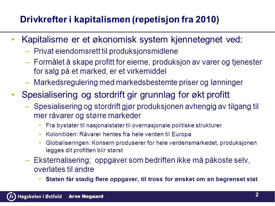 Arve Negaard •Retorikk hentet fra produksjonen i privat, markedsorientert næringsliv, flytter oppmerksomheten i offentlig sektor, fra inkorporasjon til markedstenkingen, i relasjonen mellom offentlige organ og brukere og borgere.