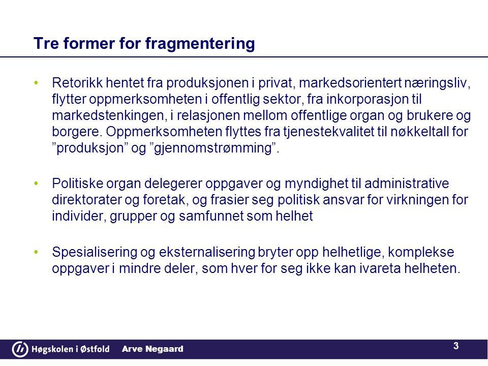Arve Negaard •Retorikk hentet fra produksjonen i privat, markedsorientert næringsliv, flytter oppmerksomheten i offentlig sektor, fra inkorporasjon ti