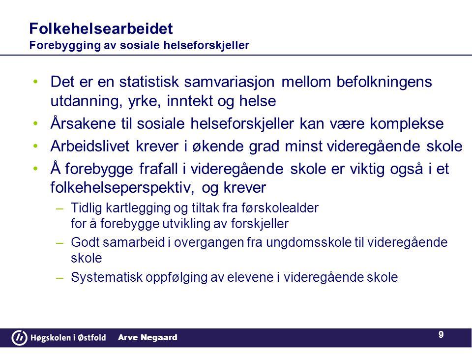 Arve Negaard •Det er en statistisk samvariasjon mellom befolkningens utdanning, yrke, inntekt og helse •Årsakene til sosiale helseforskjeller kan være