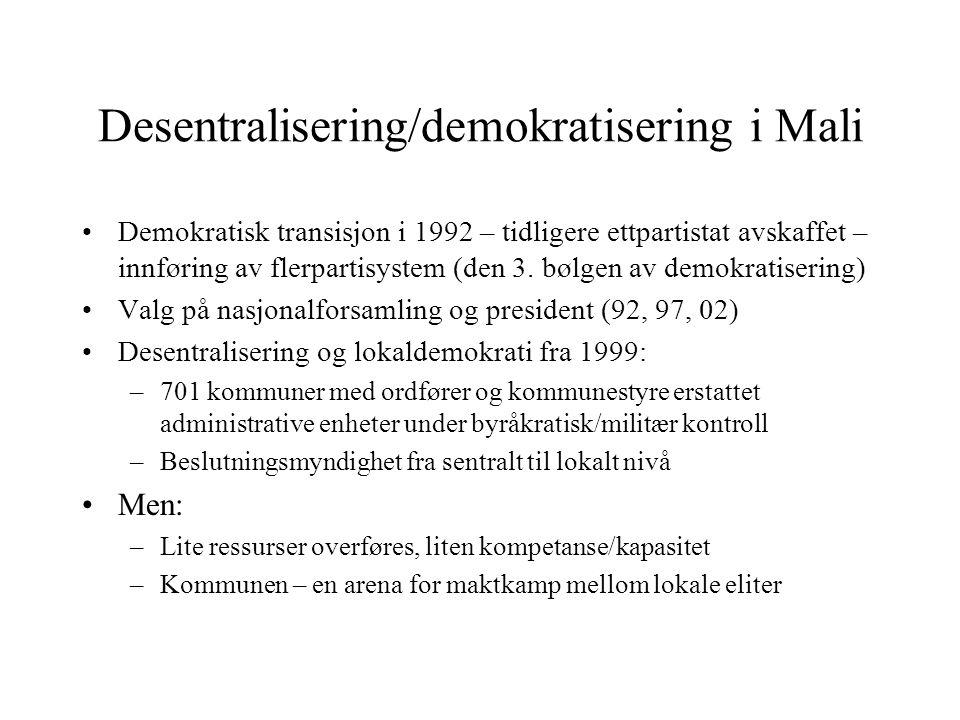 Desentralisering/demokratisering i Mali •Demokratisk transisjon i 1992 – tidligere ettpartistat avskaffet – innføring av flerpartisystem (den 3.