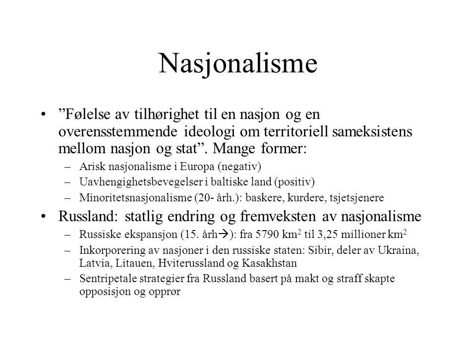 Nasjonalisme • Følelse av tilhørighet til en nasjon og en overensstemmende ideologi om territoriell sameksistens mellom nasjon og stat .