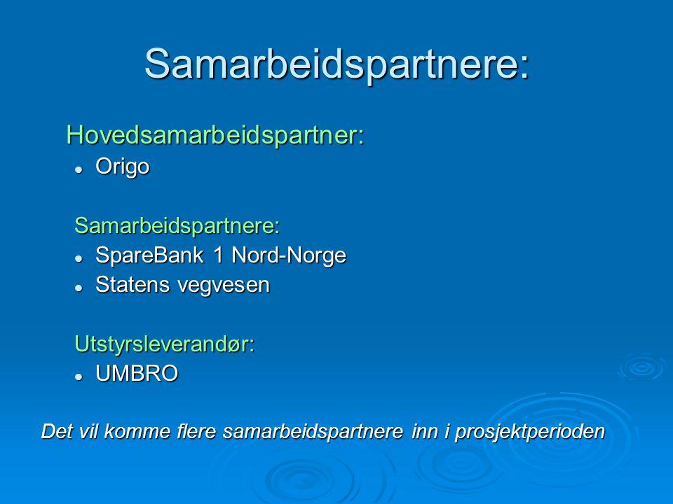 Samarbeidspartnere: Hovedsamarbeidspartner:  Origo Samarbeidspartnere:  SpareBank 1 Nord-Norge  Statens vegvesen Utstyrsleverandør:  UMBRO Det vil