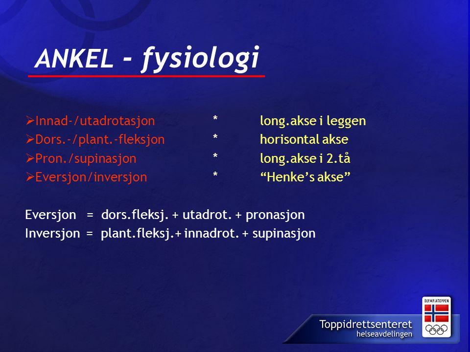 ANKEL - fysiologi  Innad-/utadrotasjon * long.akse i leggen  Dors.-/plant.-fleksjon * horisontal akse  Pron./supinasjon * long.akse i 2.tå  Eversj
