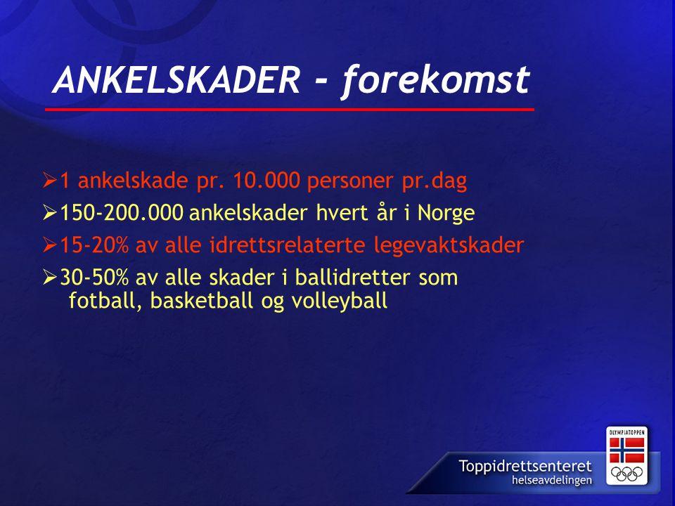 ANKELSKADER - forekomst  1 ankelskade pr. 10.000 personer pr.dag  150-200.000 ankelskader hvert år i Norge  15-20% av alle idrettsrelaterte legevak