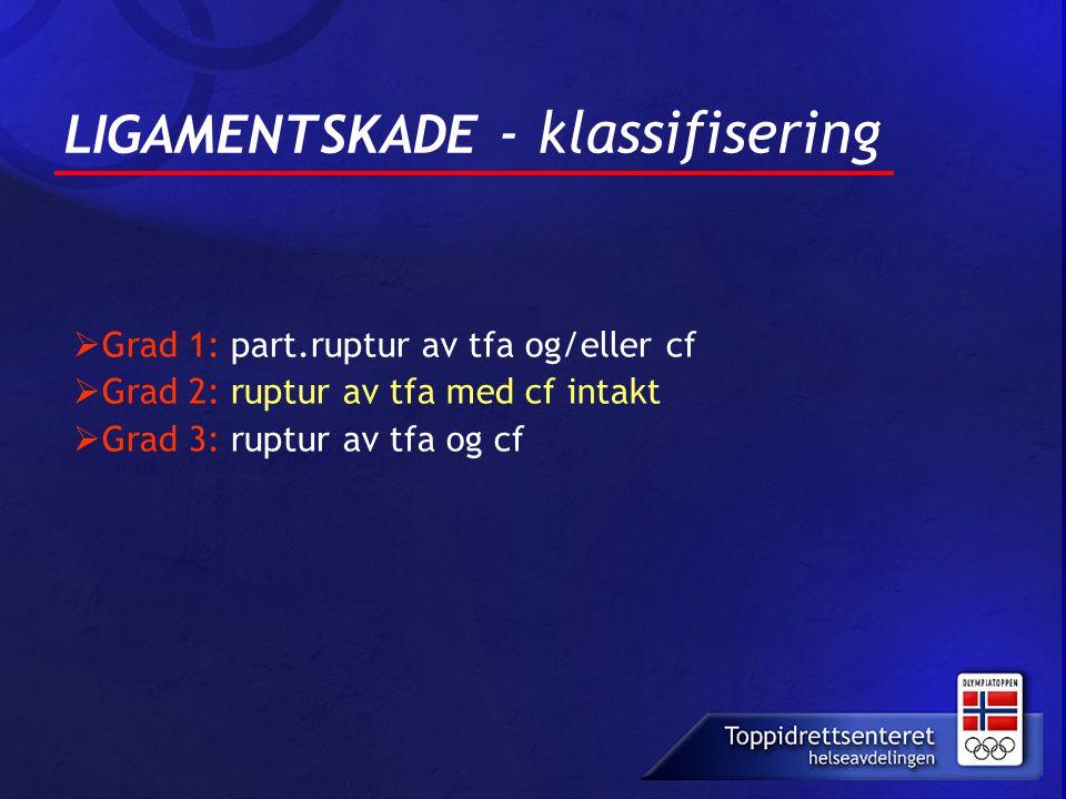 LIGAMENTSKADE - klassifisering  Grad 1: part.ruptur av tfa og/eller cf  Grad 2: ruptur av tfa med cf intakt  Grad 3: ruptur av tfa og cf
