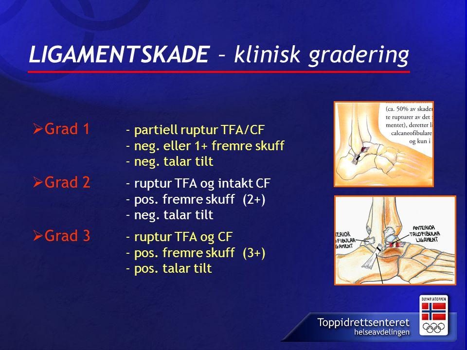 LIGAMENTSKADE – klinisk gradering  Grad 1 - partiell ruptur TFA/CF - neg. eller 1+ fremre skuff - neg. talar tilt  Grad 2 - ruptur TFA og intakt CF