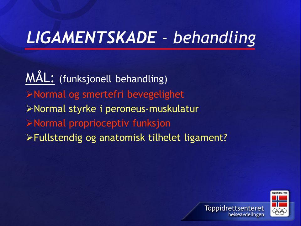 LIGAMENTSKADE - behandling MÅL: (funksjonell behandling)  Normal og smertefri bevegelighet  Normal styrke i peroneus-muskulatur  Normal propriocept