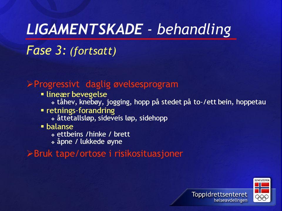LIGAMENTSKADE - behandling Fase 3: (fortsatt)  Progressivt daglig øvelsesprogram  lineær bevegelse  tåhev, knebøy, jogging, hopp på stedet på to-/e
