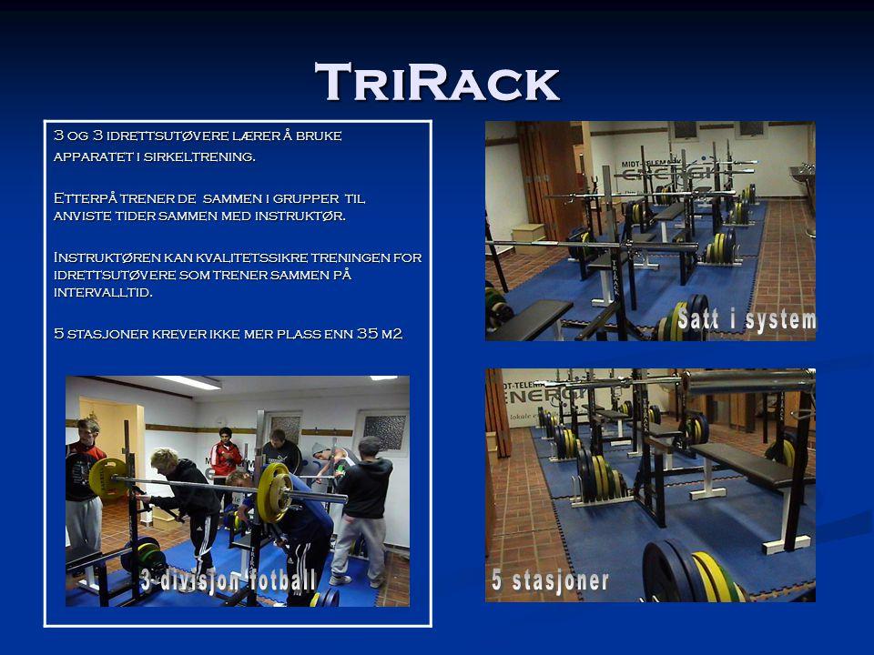TriRack 3 og 3 idrettsutøvere lærer å bruke apparatet i sirkeltrening. Etterpå trener de sammen i grupper til anviste tider sammen med instruktør. Ins