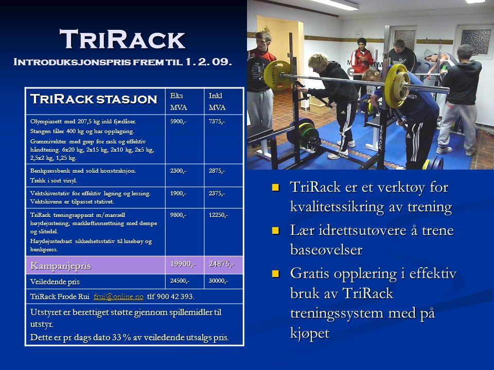 TriRack Introduksjonspris frem til 1. 2. 09.  TriRack er et verktøy for kvalitetssikring av trening  Lær idrettsutøvere å trene baseøvelser  Gratis