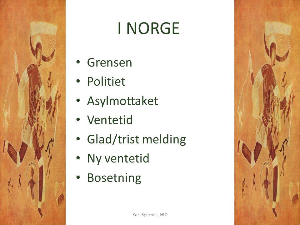 I NORGE • Grensen • Politiet • Asylmottaket • Ventetid • Glad/trist melding • Ny ventetid • Bosetning Kari Spernes, HiØ12