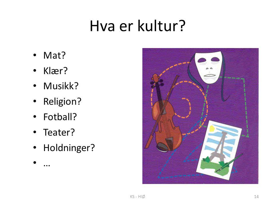 Hva er kultur? • Mat? • Klær? • Musikk? • Religion? • Fotball? • Teater? • Holdninger? • … KS - HiØ14