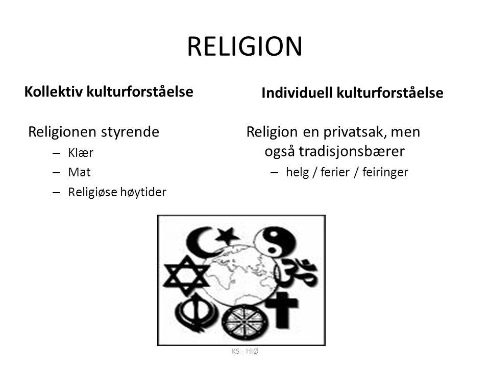 RELIGION Kollektiv kulturforståelse Religionen styrende – Klær – Mat – Religiøse høytider Individuell kulturforståelse Religion en privatsak, men også tradisjonsbærer – helg / ferier / feiringer KS - HiØ
