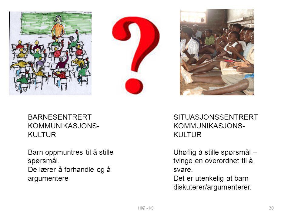 BARNESENTRERT KOMMUNIKASJONS- KULTUR Barn oppmuntres til å stille spørsmål. De lærer å forhandle og å argumentere SITUASJONSSENTRERT KOMMUNIKASJONS- K