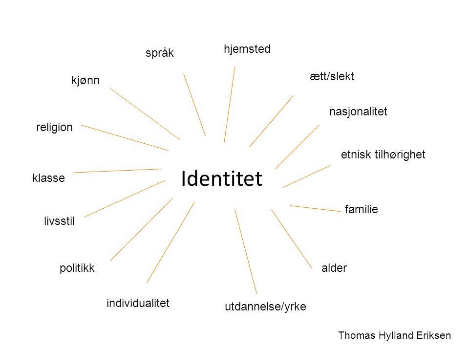 Identitet hjemsted ætt/slekt nasjonalitet familie etnisk tilhørighet kjønn språk religion klasse livsstil alder utdannelse/yrke individualitet politik