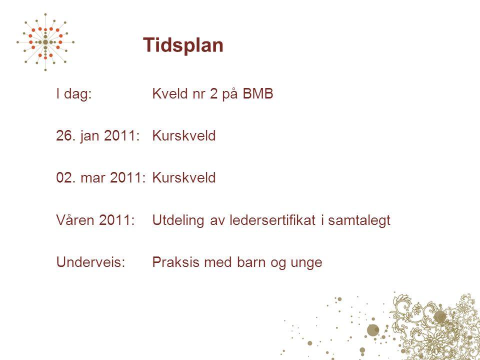 Tidsplan I dag:Kveld nr 2 på BMB 26. jan 2011:Kurskveld 02. mar 2011:Kurskveld Våren 2011:Utdeling av ledersertifikat i samtalegt Underveis: Praksis m