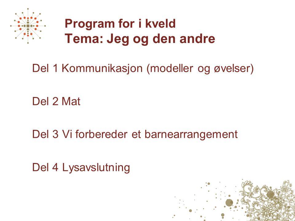 Program for i kveld Tema: Jeg og den andre Del 1Kommunikasjon (modeller og øvelser) Del 2Mat Del 3 Vi forbereder et barnearrangement Del 4 Lysavslutni