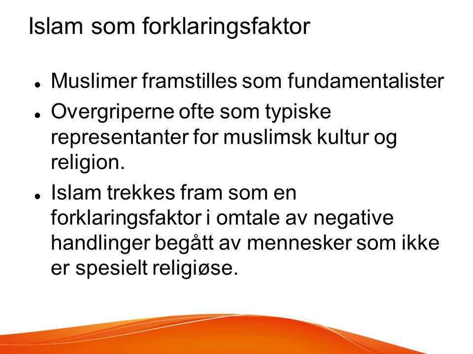 Islam som forklaringsfaktor  Muslimer framstilles som fundamentalister  Overgriperne ofte som typiske representanter for muslimsk kultur og religion.
