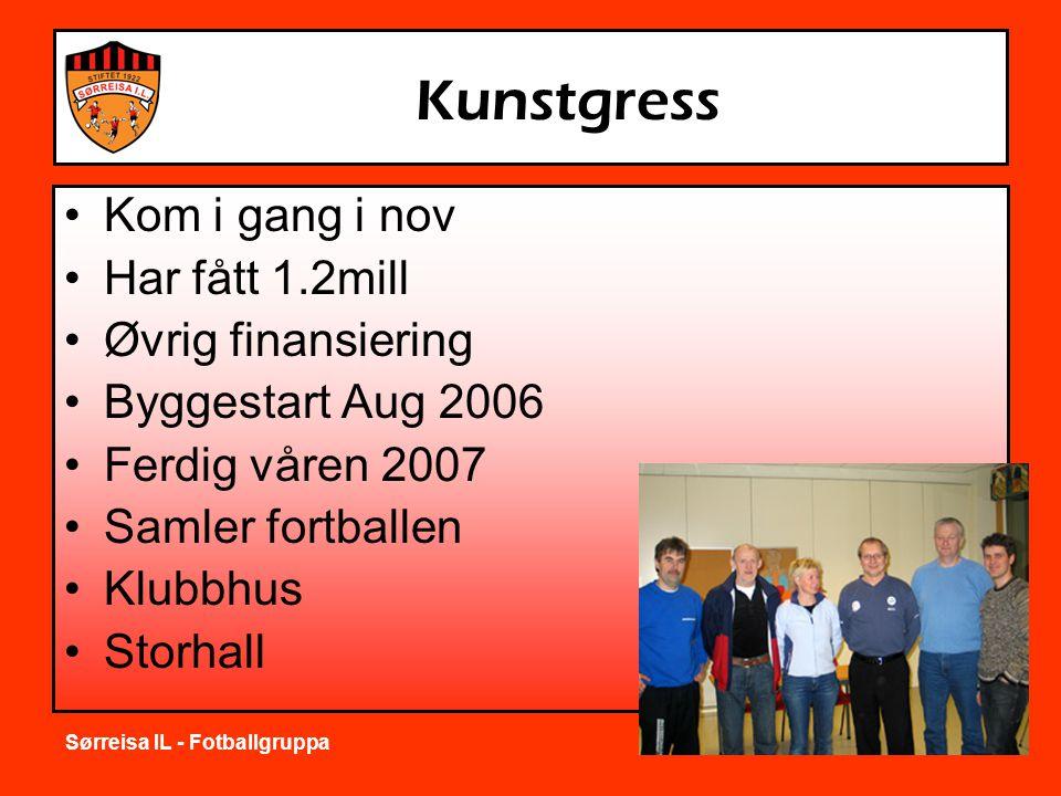 Sørreisa IL - Fotballgruppa Kunstgress •Kom i gang i nov •Har fått 1.2mill •Øvrig finansiering •Byggestart Aug 2006 •Ferdig våren 2007 •Samler fortballen •Klubbhus •Storhall