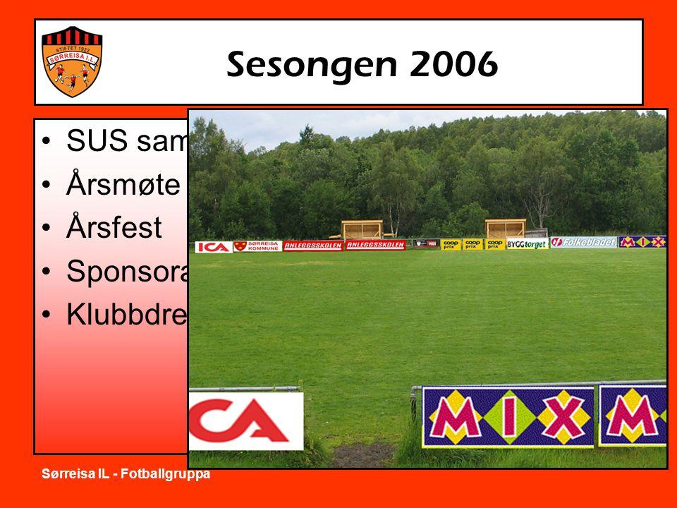 Sørreisa IL - Fotballgruppa Sesongen 2006 •SUS samarbeid •Årsmøte •Årsfest •Sponsorarbeid •Klubbdresser