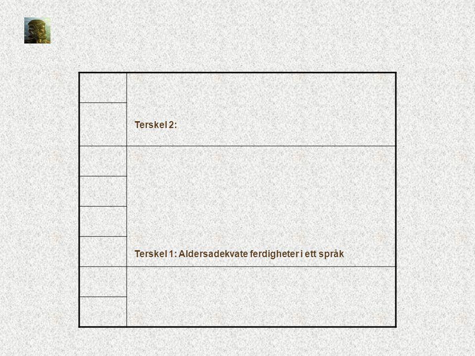 Terskel 2: Terskel 1: Aldersadekvate ferdigheter i ett språk
