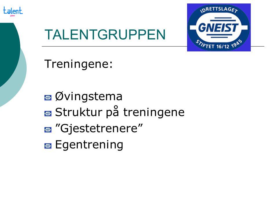 """TALENTGRUPPEN Treningene: Øvingstema Struktur på treningene """"Gjestetrenere"""" Egentrening"""
