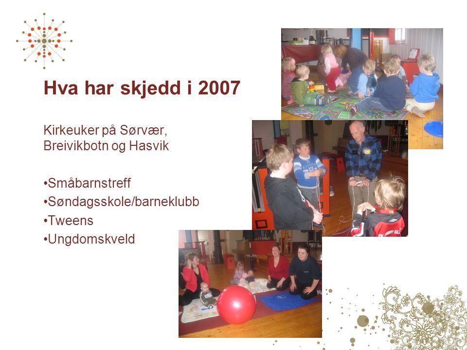 Hva har skjedd i 2007 Kirkeuker på Sørvær, Breivikbotn og Hasvik •Småbarnstreff •Søndagsskole/barneklubb •Tweens •Ungdomskveld