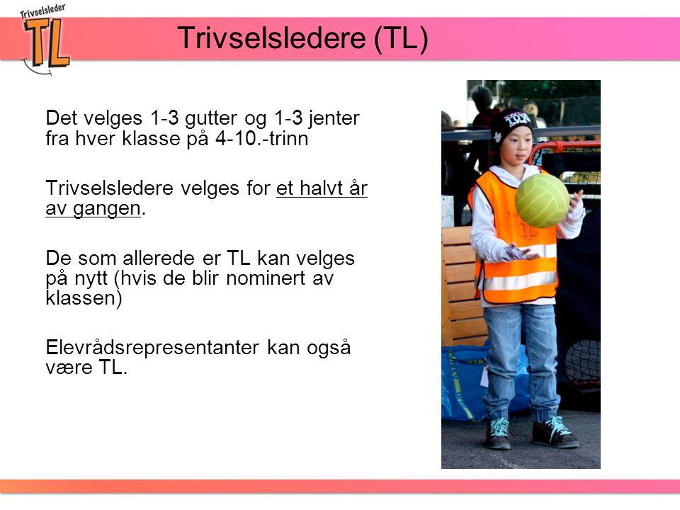 Trivselsledere (TL) Det velges 1-3 gutter og 1-3 jenter fra hver klasse på 4-10.-trinn Trivselsledere velges for et halvt år av gangen. De som allered