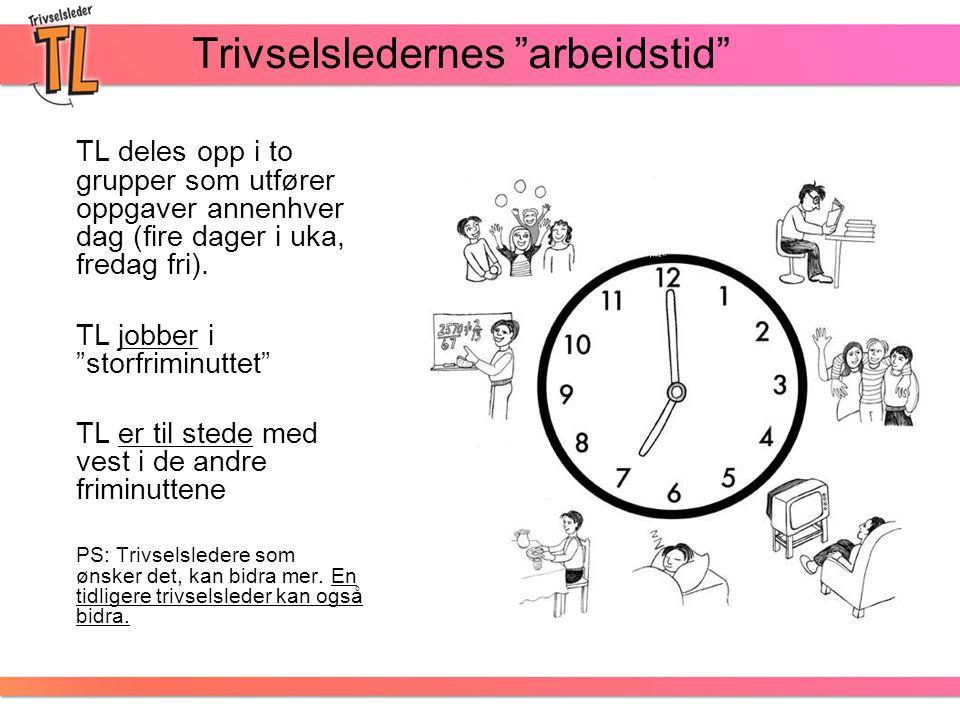 """Trivselsledernes """"arbeidstid"""" TL deles opp i to grupper som utfører oppgaver annenhver dag (fire dager i uka, fredag fri). TL jobber i """"storfriminutte"""