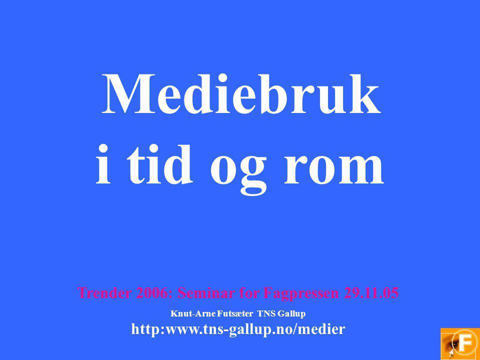 Mediebruk i tid og rom Trender 2006: Seminar for Fagpressen 29.11.05 Knut-Arne Futsæter TNS Gallup http:www.tns-gallup.no/medier