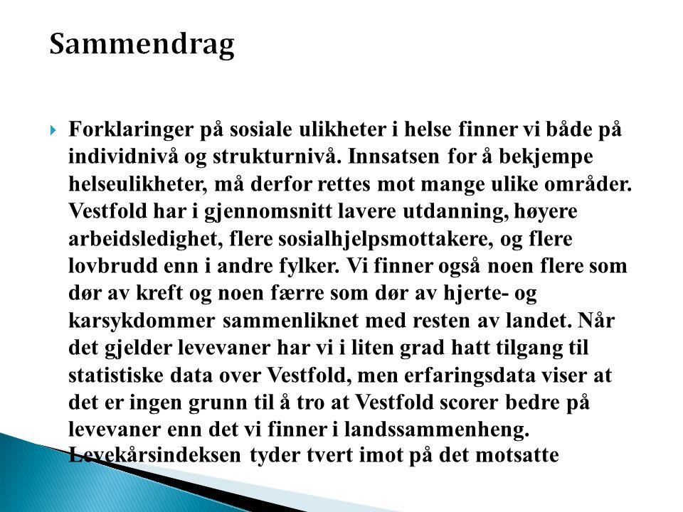 Sosial ulikhet i helse i Norge • forekommer i alle aldersgrupper • gjelder for begge kjønn • er store uansett mål på sosial status • gjelder for mange ulike mål på helse • har vedvart over tid, og er kanskje i ferd med å øke • danner en gradient: jo høyere sosioøkonomisk status, dess bedre helse