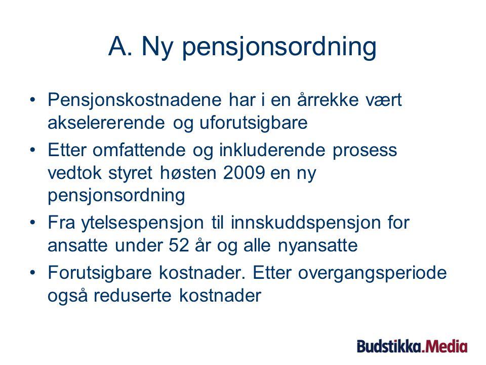 2. Driftsåret 2008 A.Ny pensjonsordning B.Omfattende sparepakke for 2009 – 2010 C.Ujevn utvikling i lesermarkedet D.Ujevn utvikling også i reklamemark