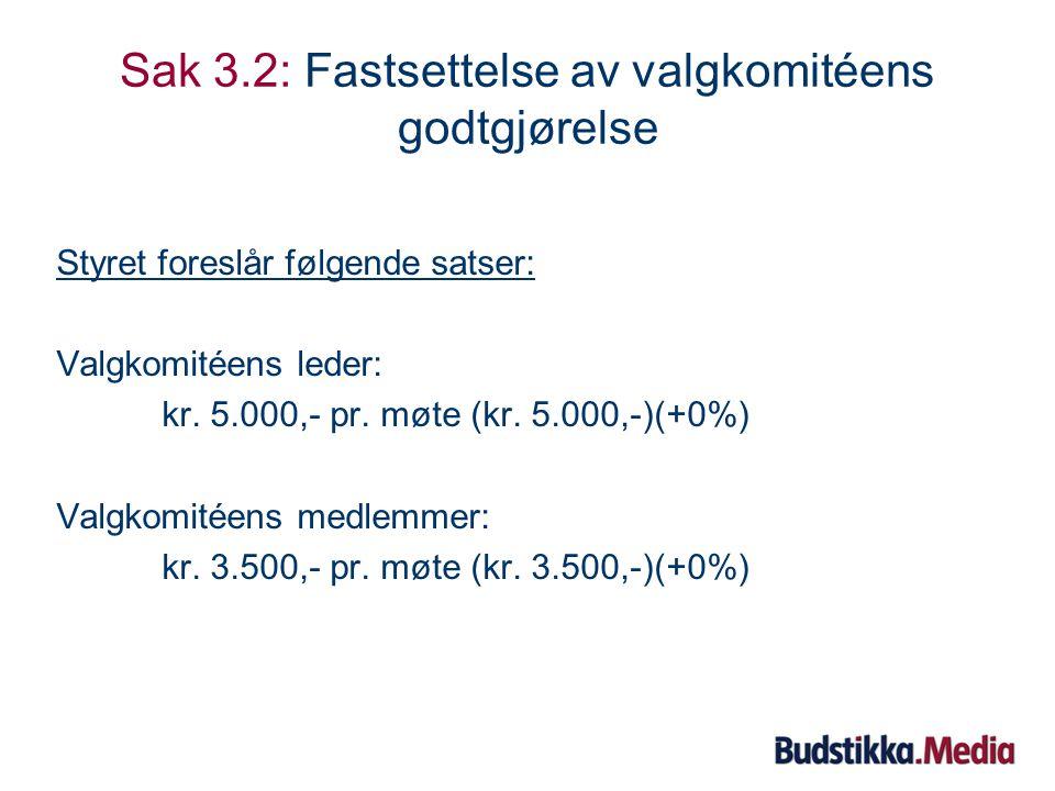 Sak 3.1: Fastsettelse av styrets godtgjørelse Valgkomiteen foreslår følgende satser: Styreleder: kr.