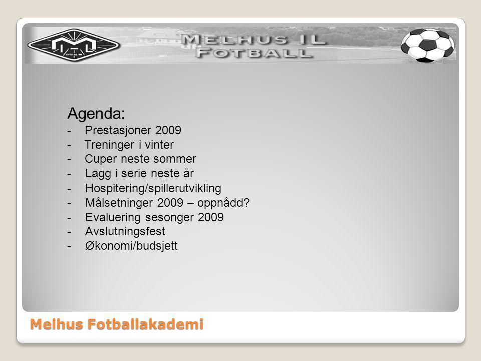 Melhus Fotballakademi Agenda: - Prestasjoner 2009 - Treninger i vinter - Cuper neste sommer -Lagg i serie neste år -Hospitering/spillerutvikling -Målsetninger 2009 – oppnådd.